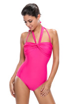Rosy Double Halterneck Ruched One Piece Swimsuit