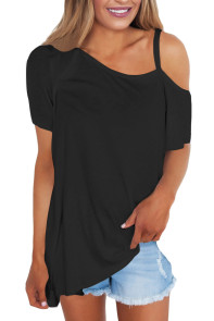 Black Cold Shoulder Short Sleeve Loose Fit Tops