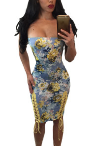 Lace Up Detail Strapless Body-con Floral Dress