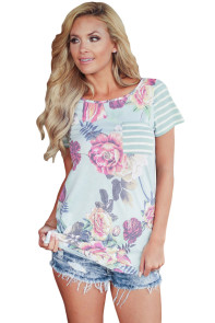 Light Blue Floral and Striped Casual T-shirt