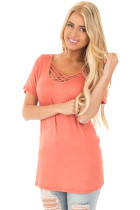 Orange Crisscross Neckline Short Sleeve Tee