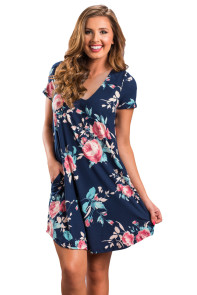 Navy Blue Pocket Design Summer Floral Shirt Dress