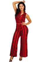 Plus Size Red Print Gold Belted Jumpsuit