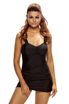 Black Solid Ruched 2pcs Tankini Skirted Swimsuit