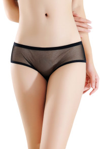 Black Mesh Cutout Strappy Chain Back Panty