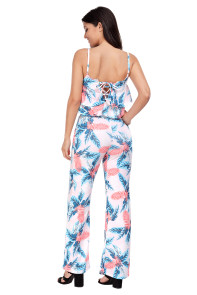 Tropical Forest Ruffled Crop Top and Pants Set