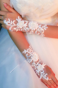 Off White Foiling Tulle Flowery Party Gloves