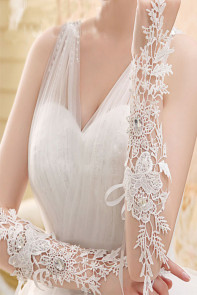 Off White Crochet Lace Rhinestone Long Gloves