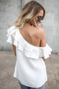 White One Sided Ruffle Top