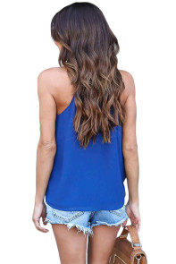 Blue Wrapped Ruffle Tank