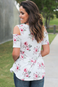 Floral Print Crisscross Neck Cold Shoulder Top