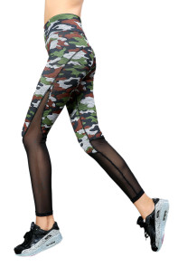 Camouflage Slimming Effect Sport Legging with Mesh