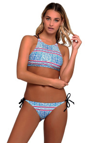 Blue Geometric Print Strappy Back High Neck Swimsuit