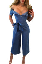Denim Blue Zipped Off Shoulder Wide Leg Jumpsuit