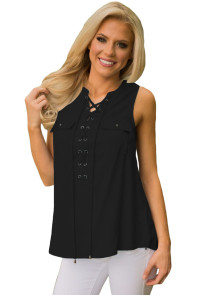 Black Sleeveless Tank Top with Lace up