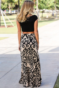 Black Tendril Printed Maxi Skirt