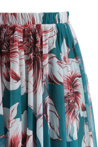 Green Blossoming Floral Chiffon Maxi Skirt