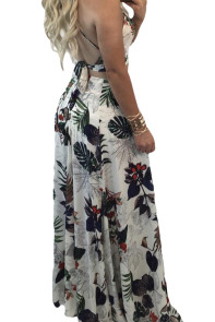 Trendy Floral Crop Top Split Maxi Skirt Set