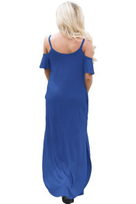 Blue Sassy Open Shoulder Maxi Dress