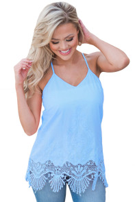 Blue Embroidered Lace Detailed Trim Tank