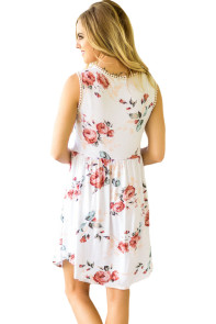 White Lace Trim Floral Boho Dress