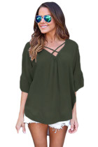 Army Green Criss Cross Loose Fit Top