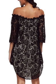 Black Off The Shoulder 3/4 Sleeve Floral Lace Dress