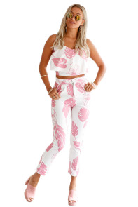 Pink Mottled Print Frill Crop Top and Pant Set