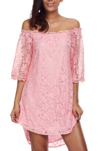 Pink Off The Shoulder 3/4 Sleeve Floral Lace Dress