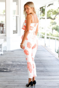Orange Mottled Print Frill Crop Top and Pant Set
