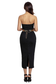 Black Sexy Strapless V-neck Side Slits Tube Midi Dress