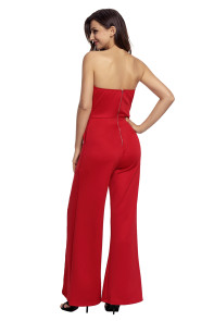 Red Wide Slit Legs Jumpsuit