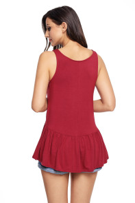 Cute Pleated Hemline Red Tank Top
