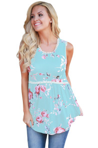 Light Blue Floral Pompom Lace Trim Flowy Tank Top