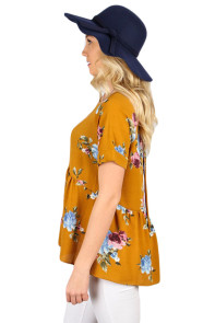 Mustard Lace-up Back Floral Ruffle Top