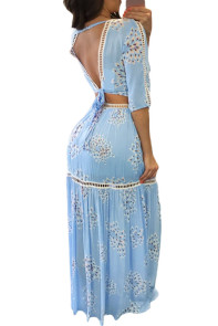 Blue Lace Trim Half Sleeve Floral Print Skirt Set