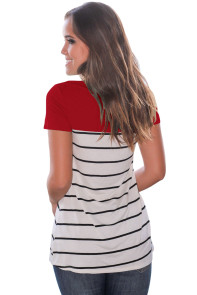 Red Splice Striped Short Sleeve T-shirt