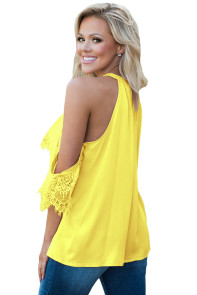 Yellow Lace Detail Oversleeve Tank Top
