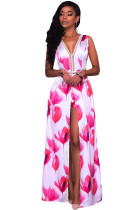 Rosy White Flowers Print Backless Short Jumpsuit with Maxi Overlay