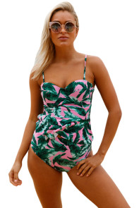 2pcs Green Leaf Print Pink Flounce Tankini Swimsuit