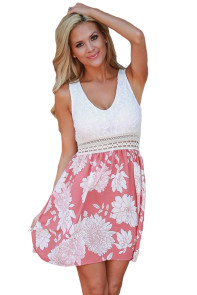 Lace Tank Pink Floral Print Skirt Skater Dress
