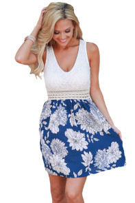 Lace Tank Blue Floral Print Skirt Skater Dress