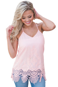 Pink Embroidered Lace Detailed Trim Tank