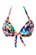 Blooming Navy Retro Tie Front Bikini Top