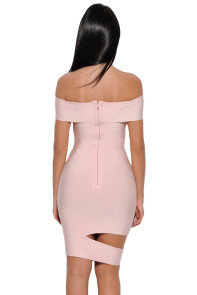 Peach Off The Shoulder Cut Out Bandage Dress