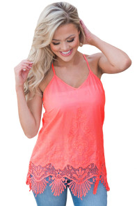 Coral Embroidered Lace Detailed Trim Tank