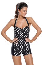 Polka Dot Front Monochrome One Piece Swimwear