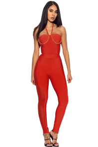 Orange Chain Strap Bandage Jumpsuit