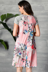 Pink Backdrop Floral Print A-line Loose T-shirt Dress