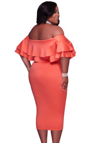 Orange Layered Ruffle Off Shoulder Curvaceous Dress